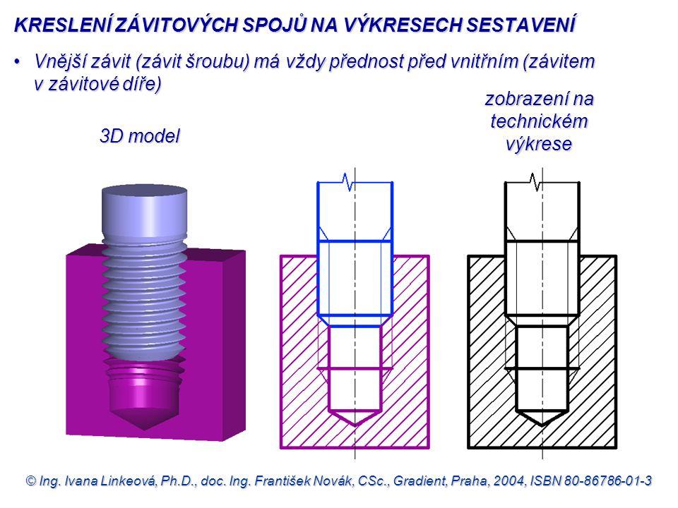 © Ing. Ivana Linkeová, Ph.D., doc. Ing. František Novák, CSc., Gradient, Praha, 2004, ISBN 80-86786-01-3 3D model zobrazení na technickém výkrese zobr