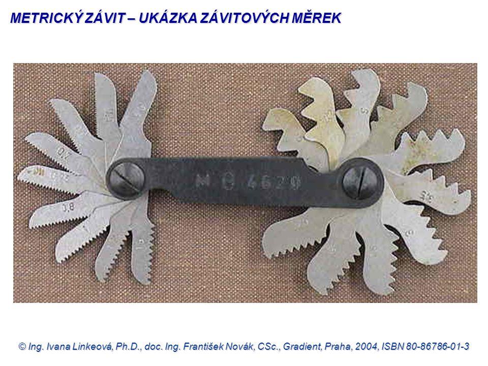 © Ing. Ivana Linkeová, Ph.D., doc. Ing. František Novák, CSc., Gradient, Praha, 2004, ISBN 80-86786-01-3 METRICKÝ ZÁVIT – UKÁZKA ZÁVITOVÝCH MĚREK