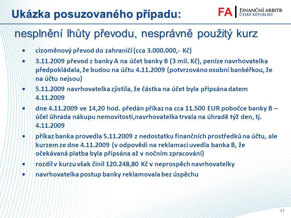 10 Jaké nové spory přinesl nový ZoPS ? •nesplnění lhůty převodu, nesprávně použitý kurz • odpovědnost držitele karty do 150 EUR • odpovědnost držitele