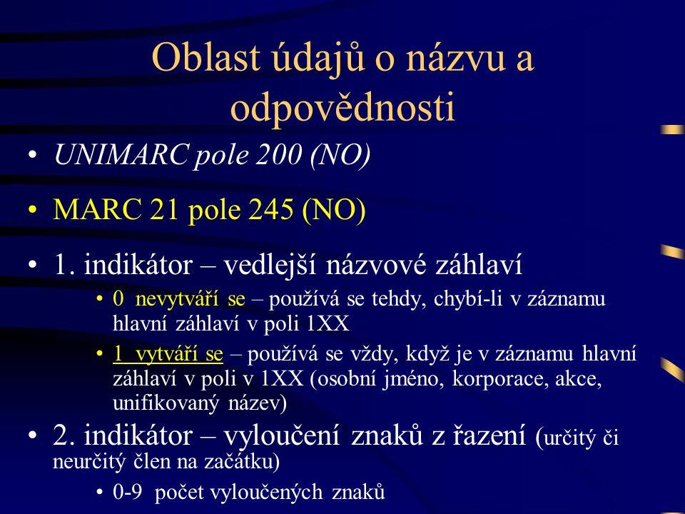 Oblast údajů o názvu a odpovědnosti •UNIMARC pole 200 (NO) •MARC 21 pole 245 (NO) •1. indikátor – vedlejší názvové záhlaví •0 nevytváří se – používá s