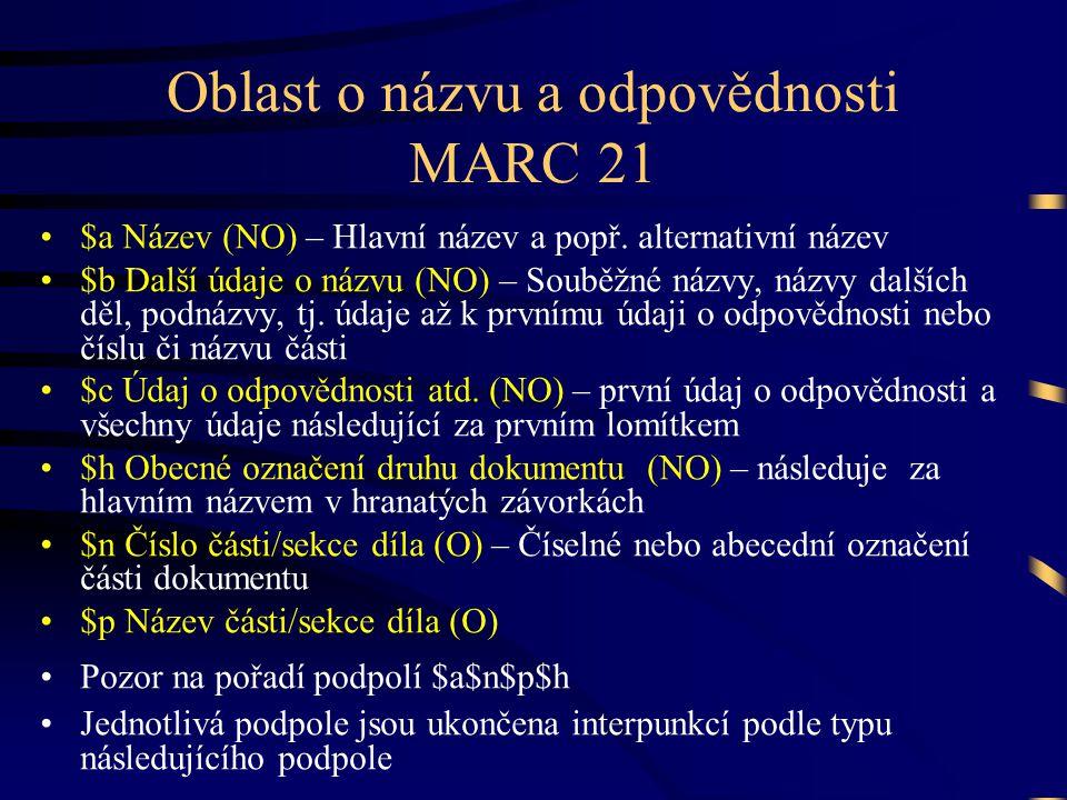 Oblast o názvu a odpovědnosti MARC 21 •$a Název (NO) – Hlavní název a popř. alternativní název •$b Další údaje o názvu (NO) – Souběžné názvy, názvy da