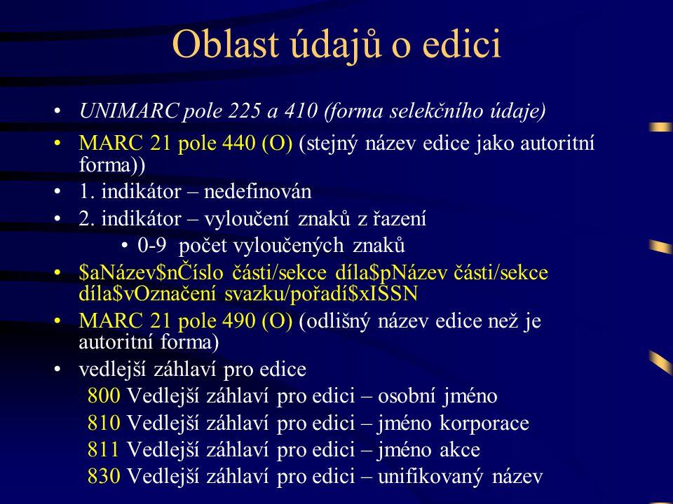 Oblast údajů o edici •UNIMARC pole 225 a 410 (forma selekčního údaje) •MARC 21 pole 440 (O) (stejný název edice jako autoritní forma)) •1. indikátor –