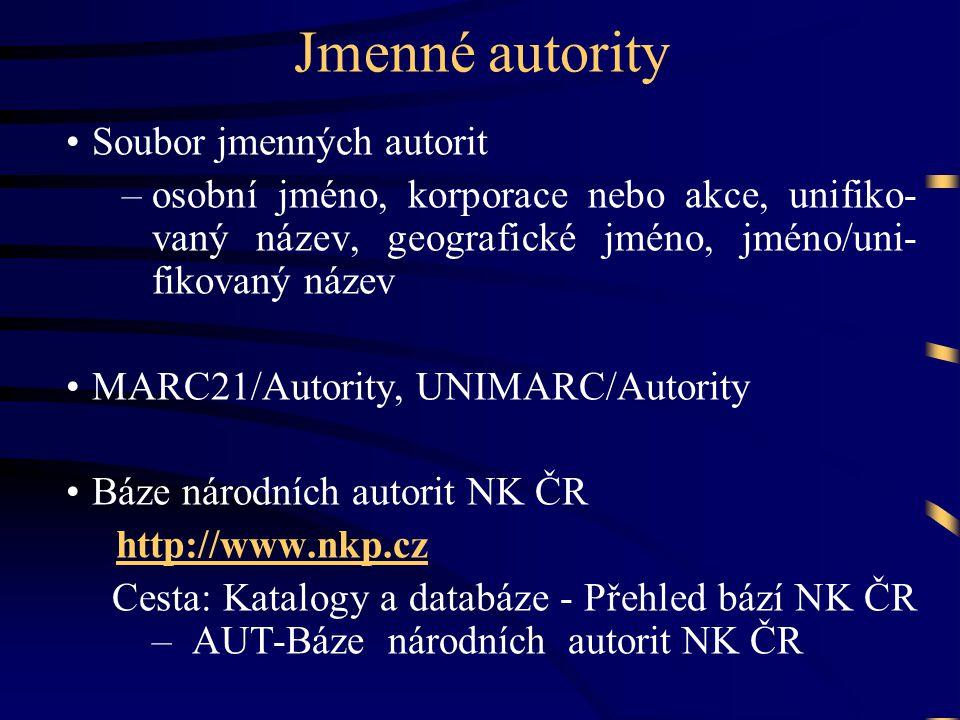 Jmenné autority •Soubor jmenných autorit –osobní jméno, korporace nebo akce, unifiko- vaný název, geografické jméno, jméno/uni- fikovaný název •MARC21