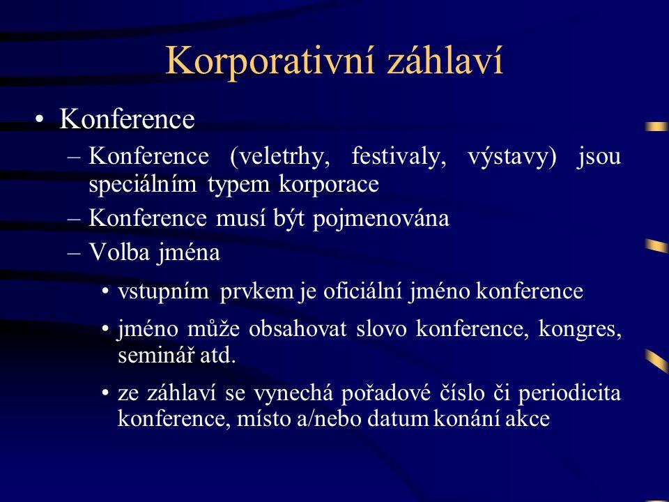 Korporativní záhlaví •Konference –Konference (veletrhy, festivaly, výstavy) jsou speciálním typem korporace –Konference musí být pojmenována –Volba jm