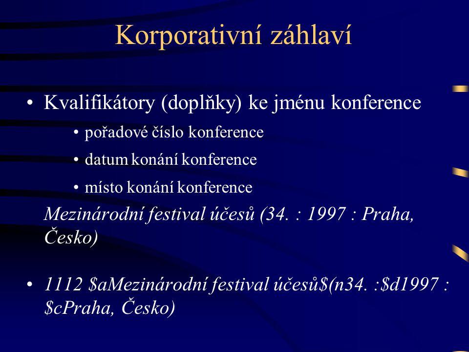 Korporativní záhlaví •Kvalifikátory (doplňky) ke jménu konference •pořadové číslo konference •datum konání konference •místo konání konference Mezinárodní festival účesů (34.