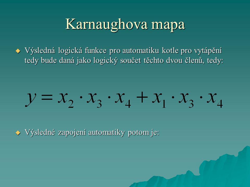 Karnaughova mapa  Výsledná logická funkce pro automatiku kotle pro vytápění tedy bude daná jako logický součet těchto dvou členů, tedy:  Výsledné za