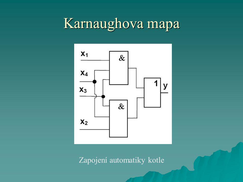 Karnaughova mapa Zapojení automatiky kotle