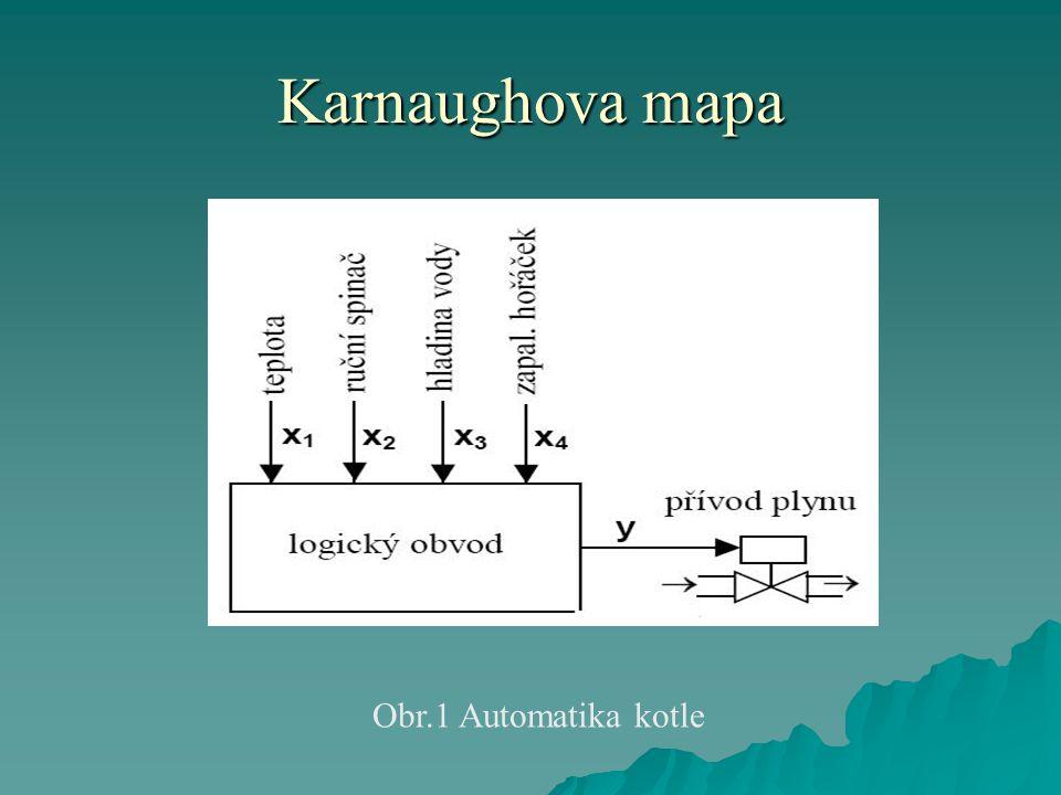 Karnaughova mapa Řešení:  Zaveďme si jednotlivé vstupní logické proměnné x 1, x 2, x 3, x 4 a výstupní logickou proměnnou y následovně:  Nejdříve sestavíme pravdivostní tabulku obr.2.