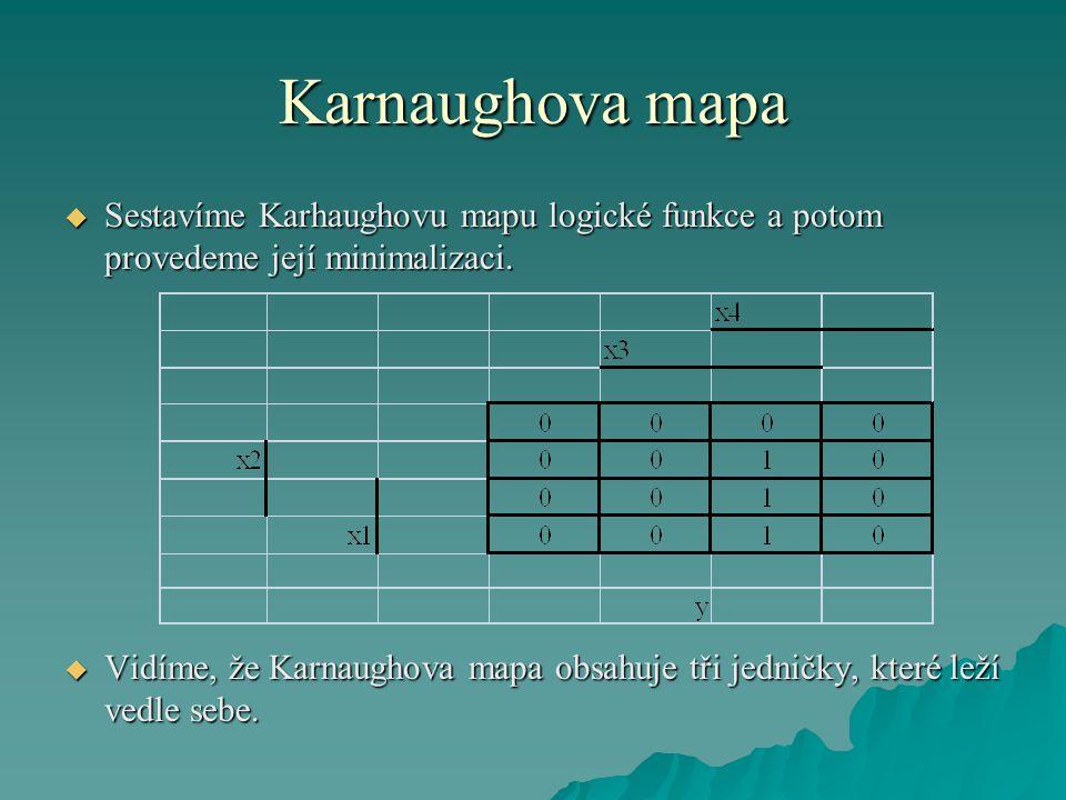 Karnaughova mapa  Sestavíme Karhaughovu mapu logické funkce a potom provedeme její minimalizaci.  Vidíme, že Karnaughova mapa obsahuje tři jedničky,
