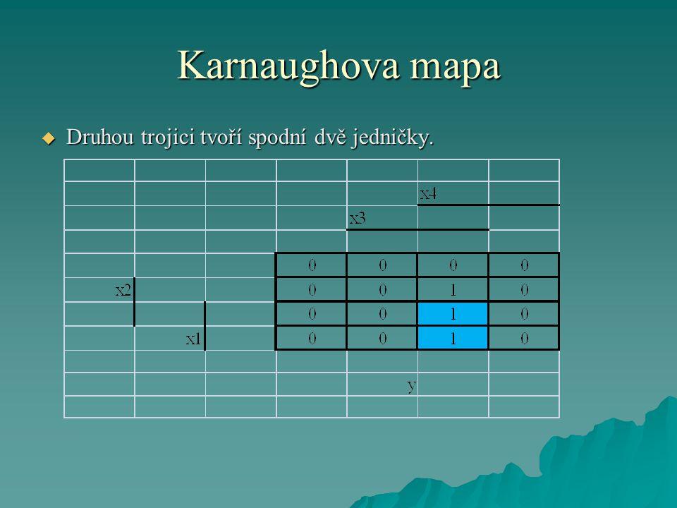 Karnaughova mapa  Výsledná logická funkce pro automatiku kotle pro vytápění tedy bude daná jako logický součet těchto dvou členů, tedy:  Výsledné zapojení automatiky potom je: