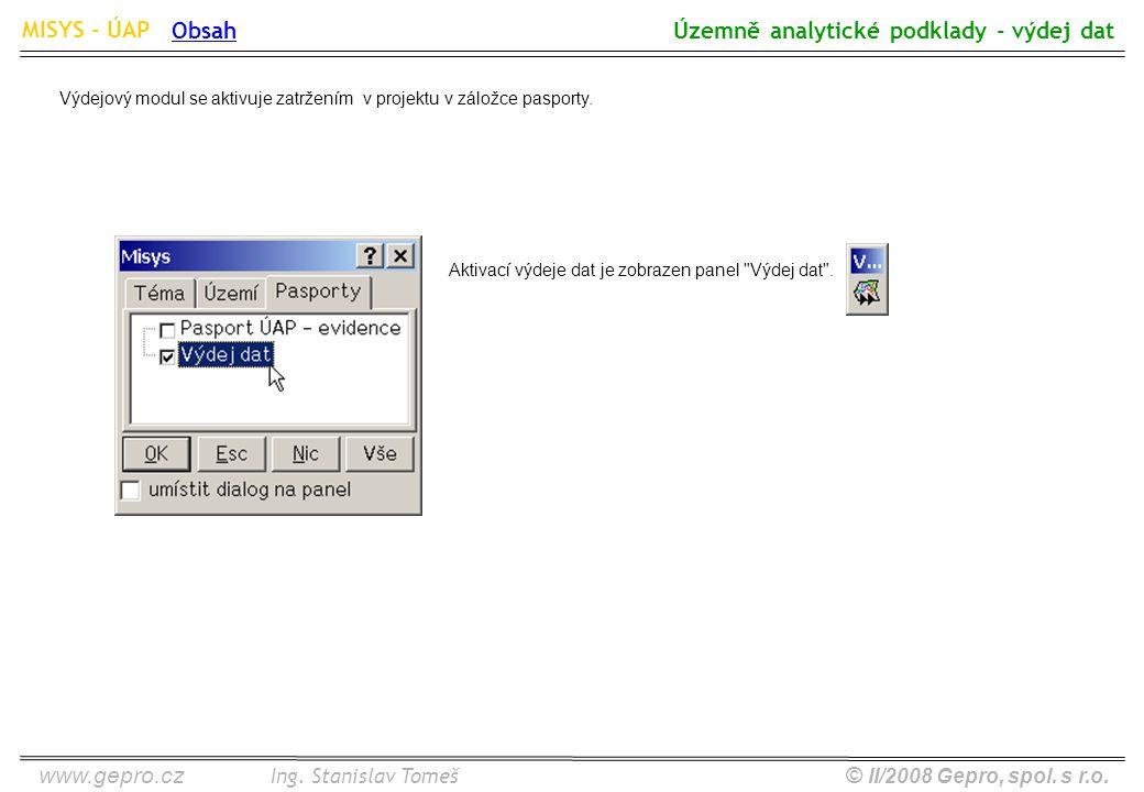 www.gepro.cz© II/2008 Gepro, spol. s r.o. MISYS - ÚAP Ing. Stanislav Tomeš Územně analytické podklady - výdej dat Obsah Aktivací výdeje dat je zobraze