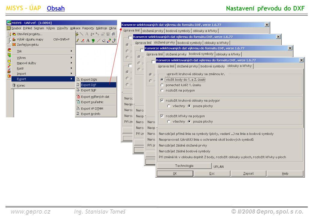 www.gepro.cz© II/2008 Gepro, spol. s r.o. MISYS - ÚAP Ing. Stanislav Tomeš Nastavení převodu do DXF Obsah