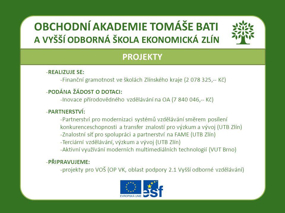 OBCHODNÍ AKADEMIE TOMÁŠE BATI A VYŠŠÍ ODBORNÁ ŠKOLA EKONOMICKÁ ZLÍN -REALIZUJE SE: -Finanční gramotnost ve školách Zlínského kraje (2 078 325,-- Kč) -