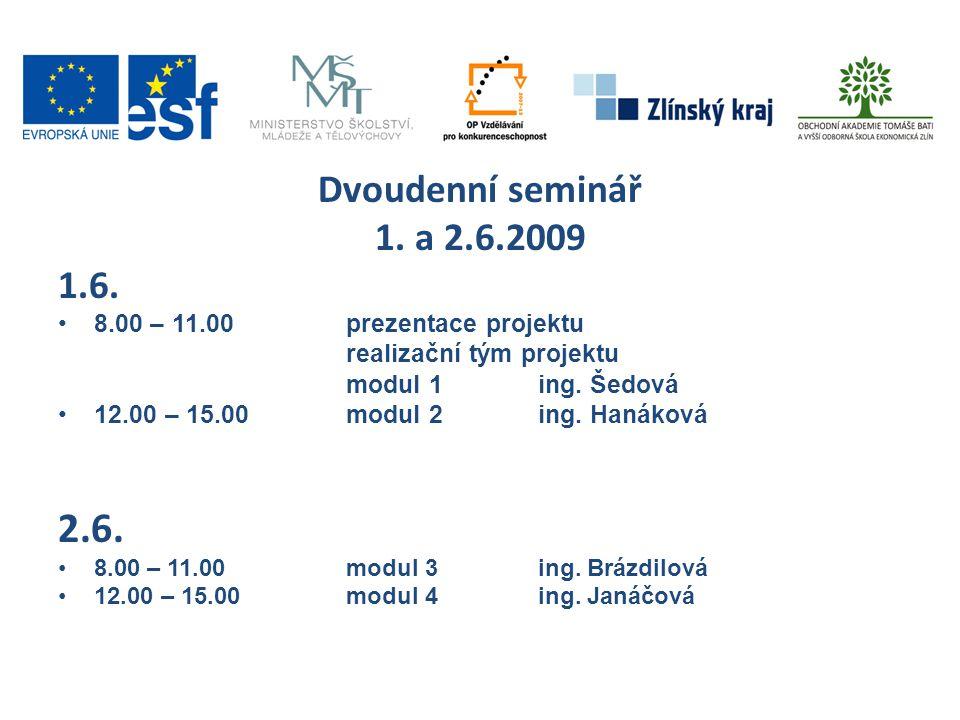 Dvoudenní seminář 1. a 2.6.2009 1.6. •8.00 – 11.00prezentace projektu realizační tým projektu modul 1ing. Šedová •12.00 – 15.00modul 2ing. Hanáková 2.