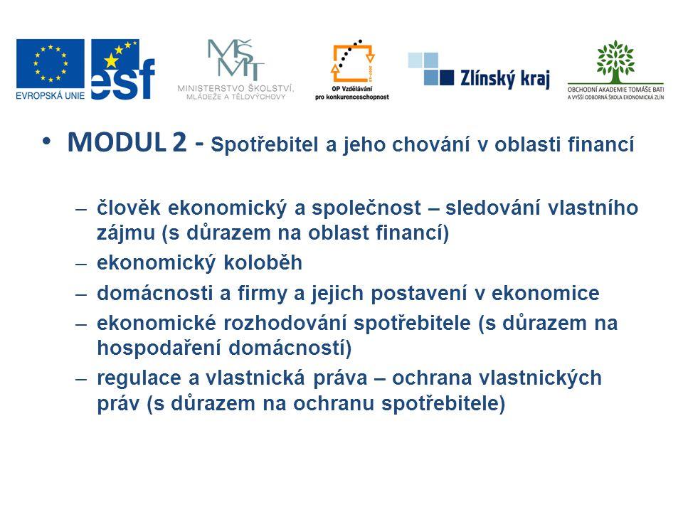 • MODUL 2 - Spotřebitel a jeho chování v oblasti financí –člověk ekonomický a společnost – sledování vlastního zájmu (s důrazem na oblast financí) –ek