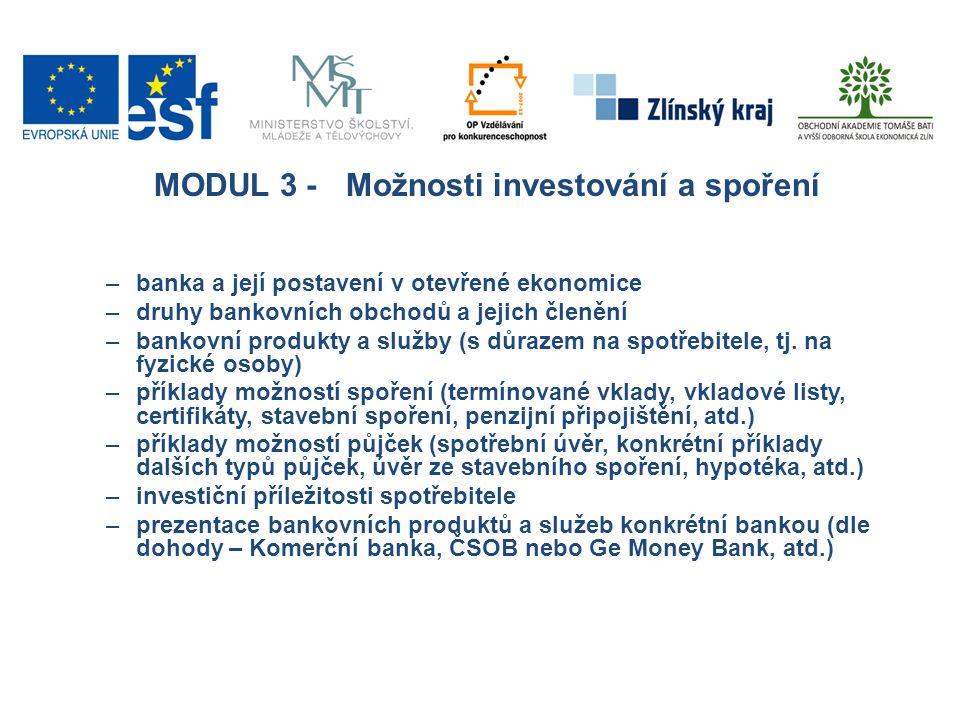MODUL 3 -Možnosti investování a spoření –banka a její postavení v otevřené ekonomice –druhy bankovních obchodů a jejich členění –bankovní produkty a s