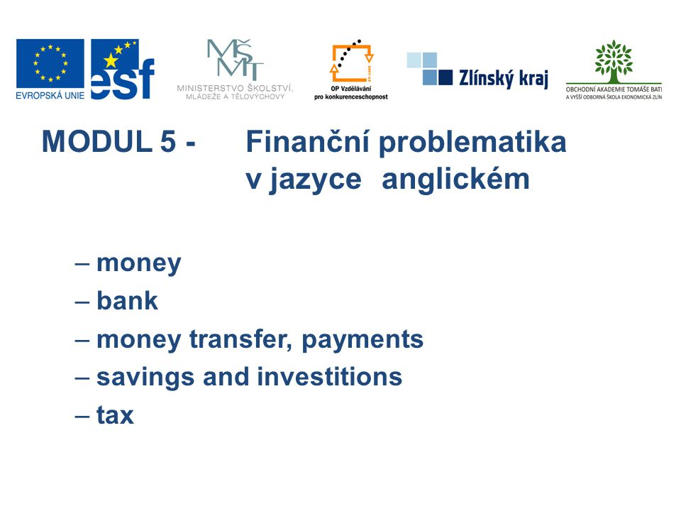 MODUL 5 -Finanční problematika v jazyce anglickém –money –bank –money transfer, payments –savings and investitions –tax