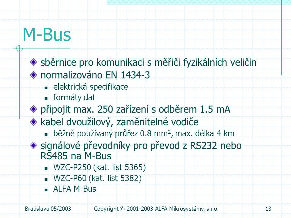 Bratislava 05/2003Copyright © 2001-2003 ALFA Mikrosystémy, s.r.o.13 M-Bus sběrnice pro komunikaci s měřiči fyzikálních veličin normalizováno EN 1434-3