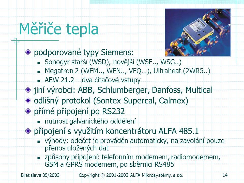 Bratislava 05/2003Copyright © 2001-2003 ALFA Mikrosystémy, s.r.o.14 Měřiče tepla podporované typy Siemens:  Sonogyr starší (WSD), novější (WSF.., WSG