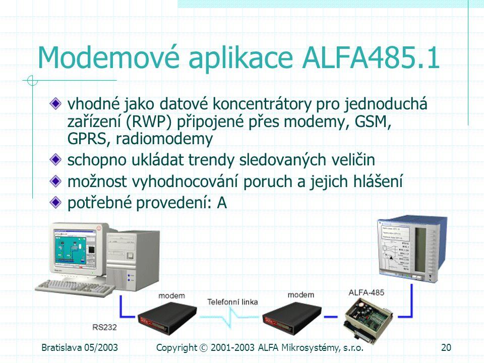 Bratislava 05/2003Copyright © 2001-2003 ALFA Mikrosystémy, s.r.o.20 Modemové aplikace ALFA485.1 vhodné jako datové koncentrátory pro jednoduchá zaříze