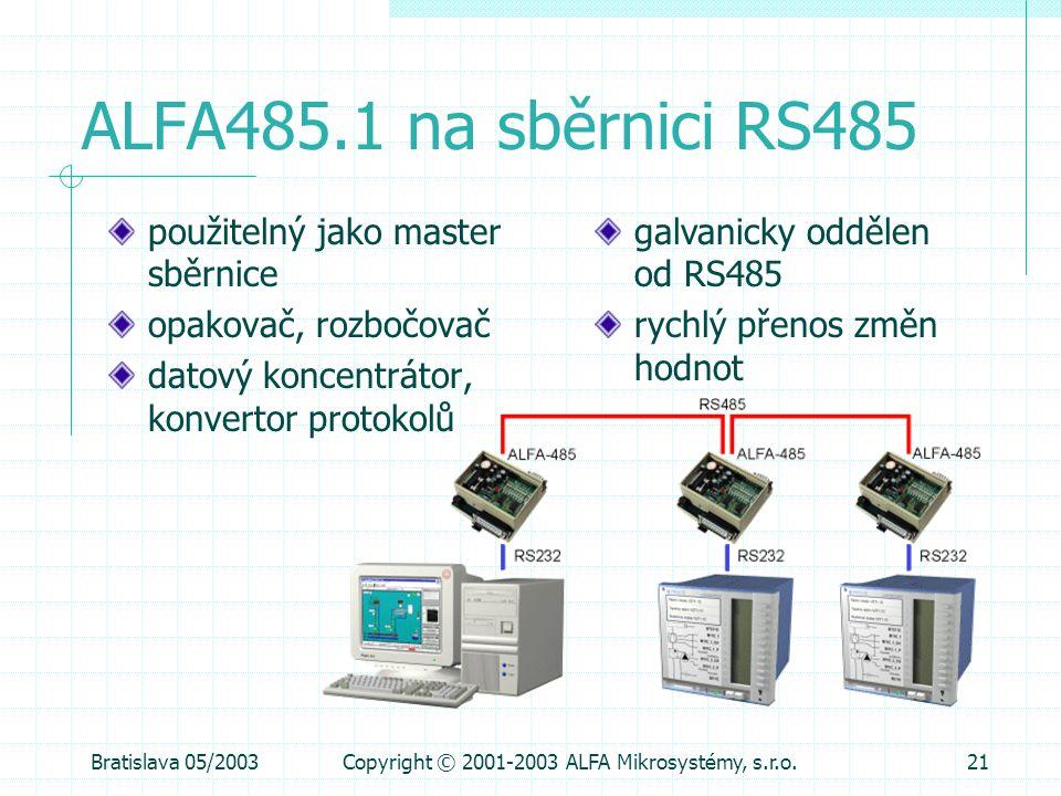 Bratislava 05/2003Copyright © 2001-2003 ALFA Mikrosystémy, s.r.o.21 ALFA485.1 na sběrnici RS485 použitelný jako master sběrnice opakovač, rozbočovač d