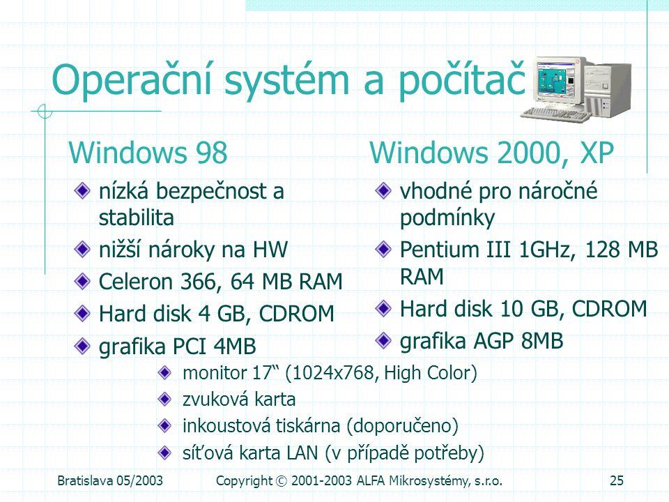Bratislava 05/2003Copyright © 2001-2003 ALFA Mikrosystémy, s.r.o.25 Operační systém a počítač nízká bezpečnost a stabilita nižší nároky na HW Celeron
