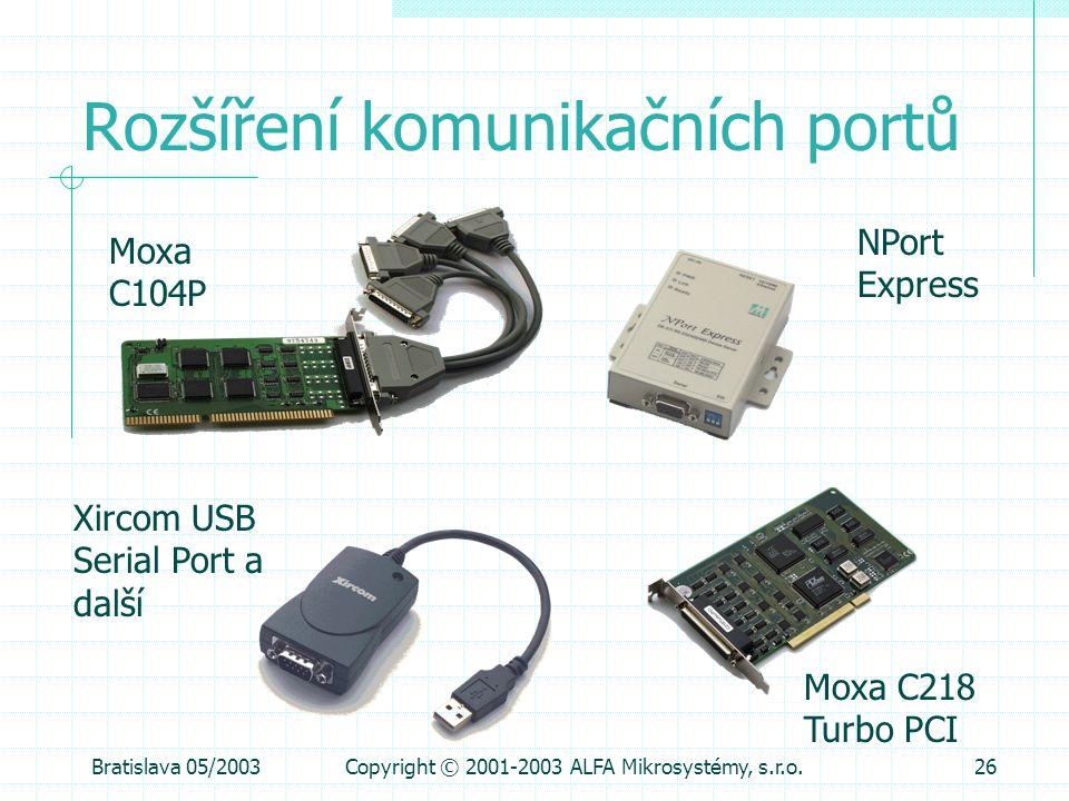Bratislava 05/2003Copyright © 2001-2003 ALFA Mikrosystémy, s.r.o.26 Rozšíření komunikačních portů Moxa C104P Moxa C218 Turbo PCI Xircom USB Serial Por