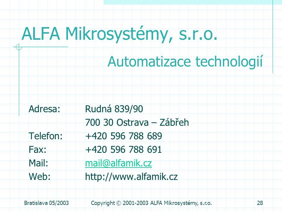 Bratislava 05/2003Copyright © 2001-2003 ALFA Mikrosystémy, s.r.o.28 ALFA Mikrosystémy, s.r.o. Adresa: Rudná 839/90 700 30 Ostrava – Zábřeh Telefon: +4