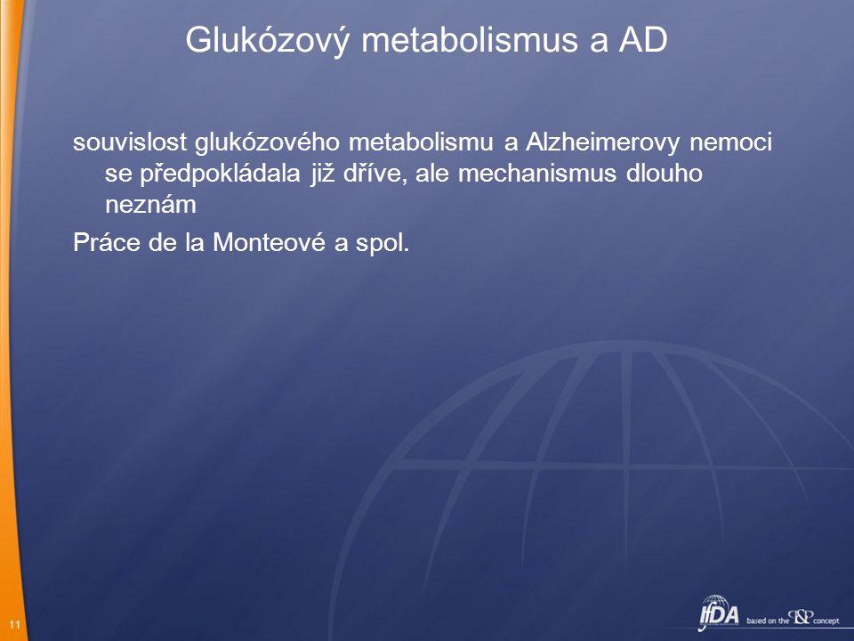 11 Glukózový metabolismus a AD souvislost glukózového metabolismu a Alzheimerovy nemoci se předpokládala již dříve, ale mechanismus dlouho neznám Prác