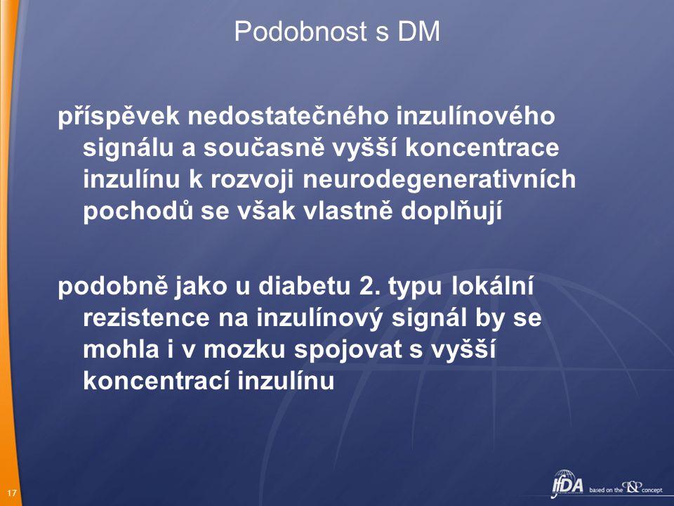 17 Podobnost s DM příspěvek nedostatečného inzulínového signálu a současně vyšší koncentrace inzulínu k rozvoji neurodegenerativních pochodů se však v