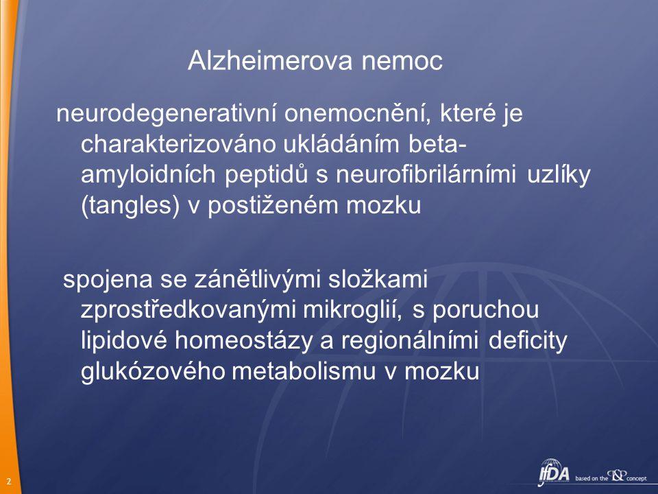 2 Alzheimerova nemoc neurodegenerativní onemocnění, které je charakterizováno ukládáním beta- amyloidních peptidů s neurofibrilárními uzlíky (tangles)