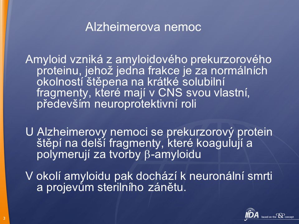 3 Alzheimerova nemoc Amyloid vzniká z amyloidového prekurzorového proteinu, jehož jedna frakce je za normálních okolností štěpena na krátké solubilní