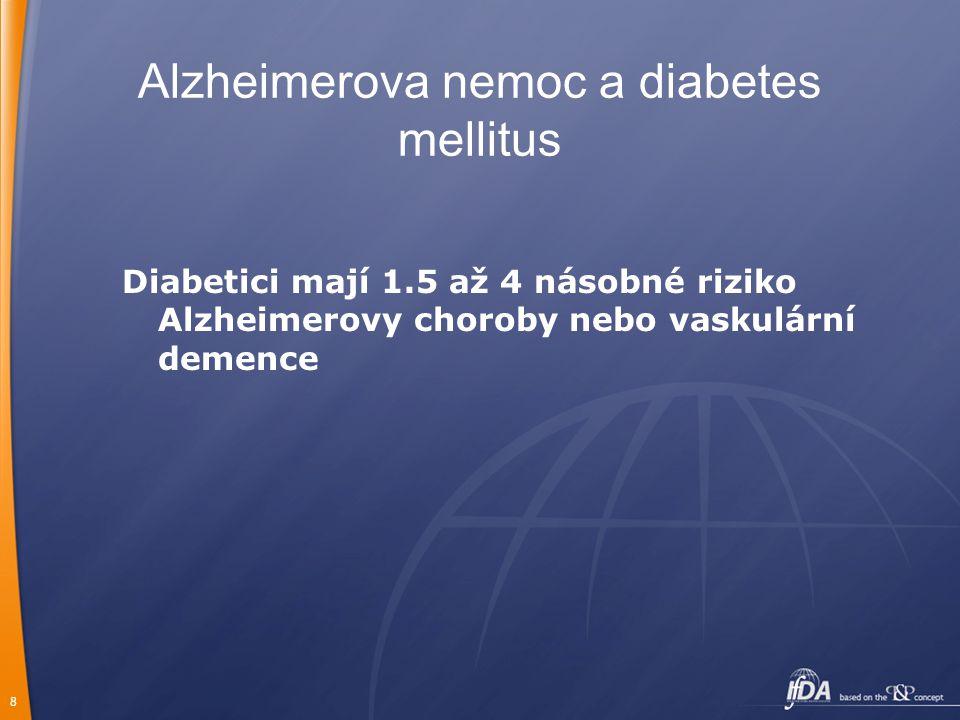8 Alzheimerova nemoc a diabetes mellitus Diabetici mají 1.5 až 4 násobné riziko Alzheimerovy choroby nebo vaskulární demence