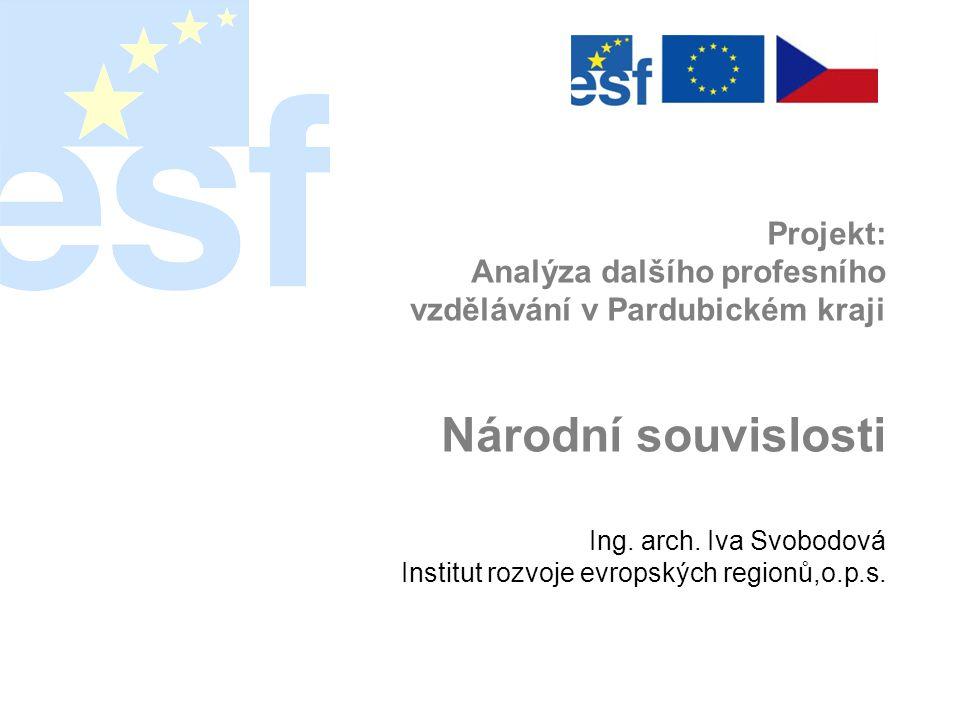 Projekt: Analýza dalšího profesního vzdělávání v Pardubickém kraji Národní souvislosti Ing.
