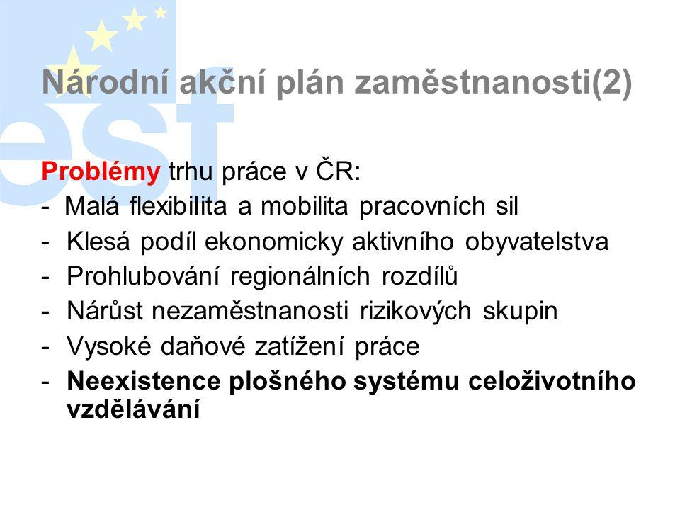 Národní akční plán zaměstnanosti(2) Problémy trhu práce v ČR: - Malá flexibilita a mobilita pracovních sil -Klesá podíl ekonomicky aktivního obyvatelstva -Prohlubování regionálních rozdílů -Nárůst nezaměstnanosti rizikových skupin -Vysoké daňové zatížení práce -Neexistence plošného systému celoživotního vzdělávání