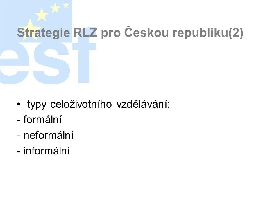 Strategie RLZ pro Českou republiku(2) •typy celoživotního vzdělávání: - formální - neformální - informální