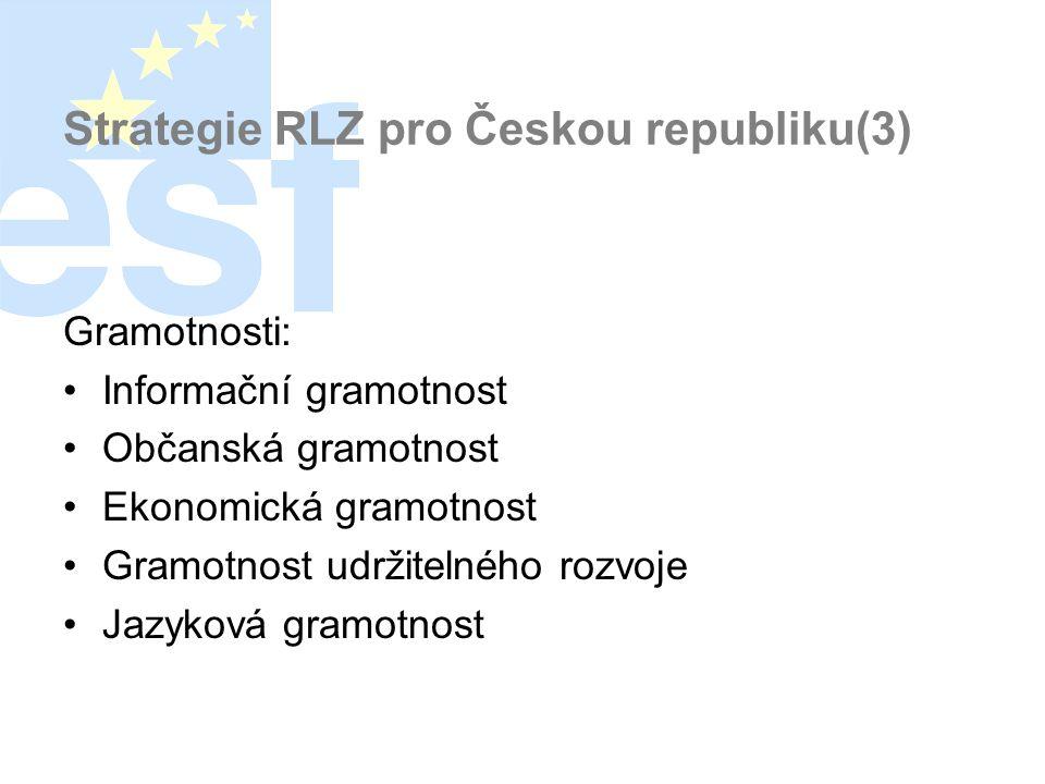 Strategie RLZ pro Českou republiku(3) Gramotnosti: •Informační gramotnost •Občanská gramotnost •Ekonomická gramotnost •Gramotnost udržitelného rozvoje •Jazyková gramotnost