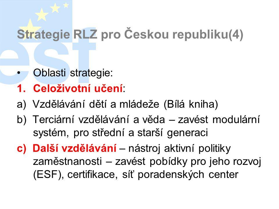 Strategie RLZ pro Českou republiku(4) •Oblasti strategie: 1.Celoživotní učení: a) Vzdělávání dětí a mládeže (Bílá kniha) b) Terciární vzdělávání a věda – zavést modulární systém, pro střední a starší generaci c) Další vzdělávání – nástroj aktivní politiky zaměstnanosti – zavést pobídky pro jeho rozvoj (ESF), certifikace, síť poradenských center