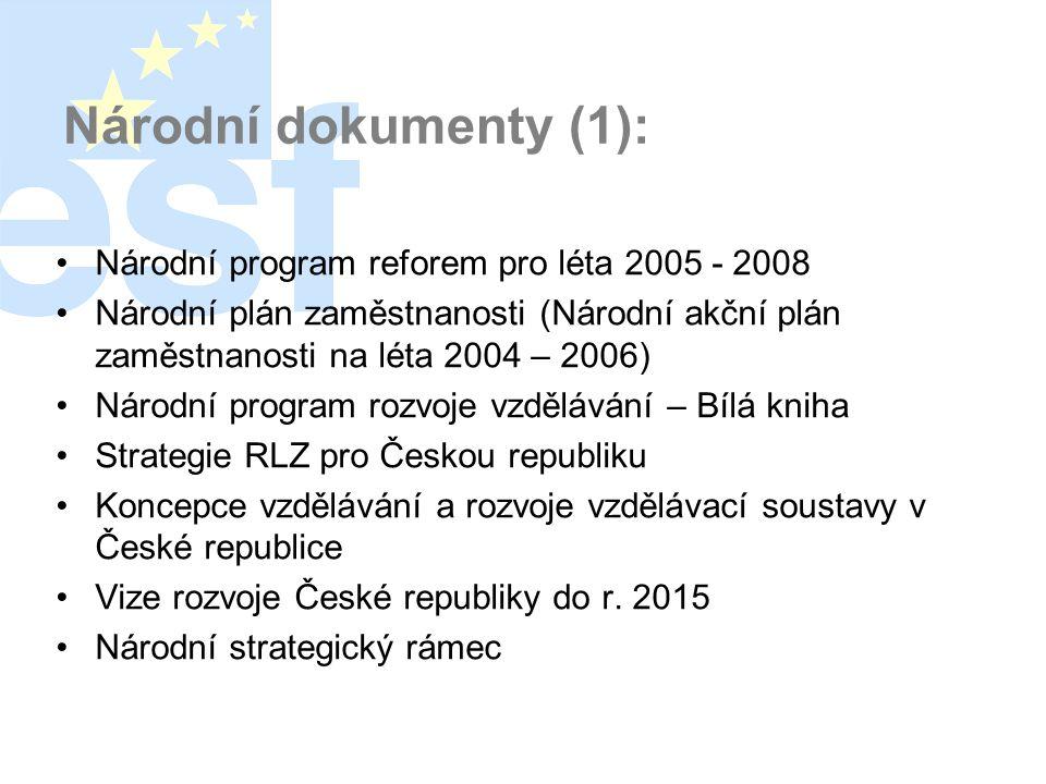 Národní dokumenty (1): •Národní program reforem pro léta 2005 - 2008 •Národní plán zaměstnanosti (Národní akční plán zaměstnanosti na léta 2004 – 2006