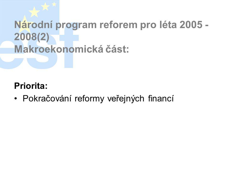 Národní program reforem pro léta 2005 - 2008(2) Makroekonomická část: Priorita: •Pokračování reformy veřejných financí