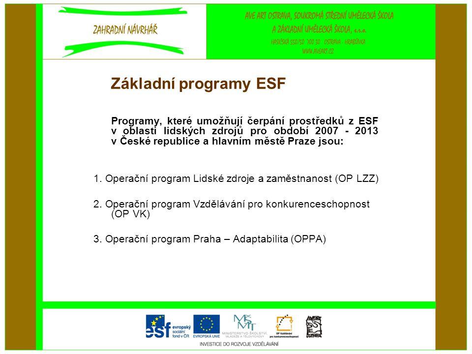 Základní programy ESF Programy, které umožňují čerpání prostředků z ESF v oblasti lidských zdrojů pro období 2007 - 2013 v České republice a hlavním městě Praze jsou: 1.