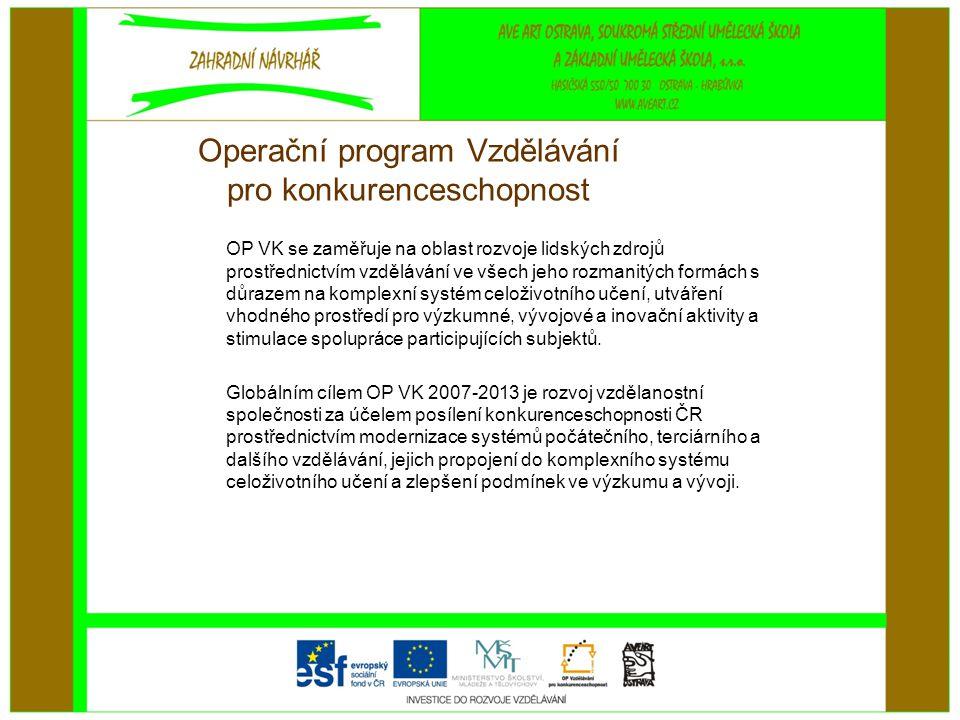 Operační program Vzdělávání pro konkurenceschopnost OP VK se zaměřuje na oblast rozvoje lidských zdrojů prostřednictvím vzdělávání ve všech jeho rozmanitých formách s důrazem na komplexní systém celoživotního učení, utváření vhodného prostředí pro výzkumné, vývojové a inovační aktivity a stimulace spolupráce participujících subjektů.