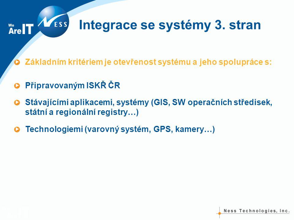 Integrace se systémy 3. stran Základním kritériem je otevřenost systému a jeho spolupráce s: Připravovaným ISKŘ ČR Stávajícími aplikacemi, systémy (GI