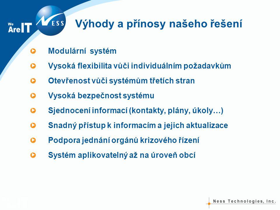 Výhody a přínosy našeho řešení Modulární systém Vysoká flexibilita vůči individuálním požadavkům Otevřenost vůči systémům třetích stran Vysoká bezpečn
