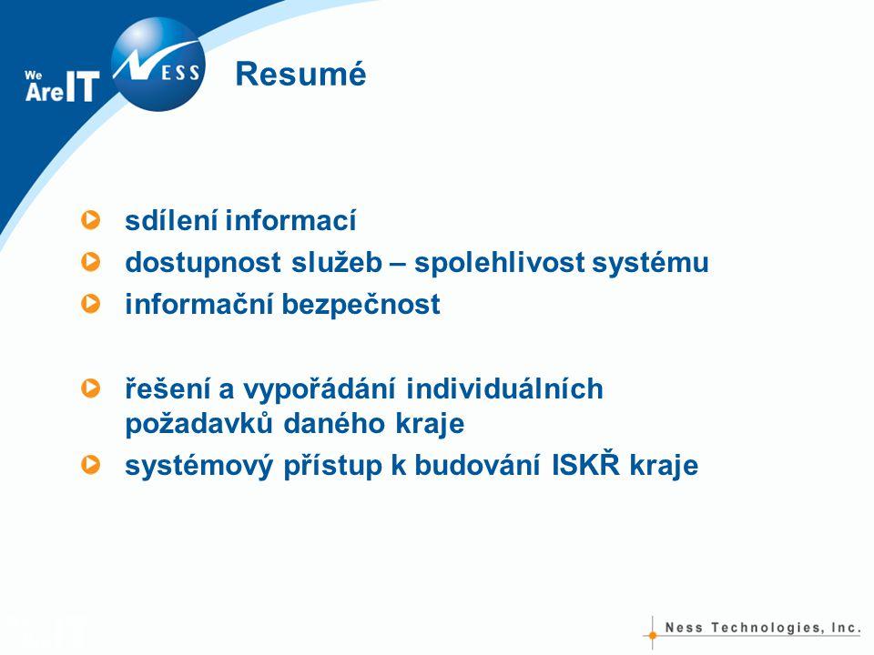 Resumé sdílení informací dostupnost služeb – spolehlivost systému informační bezpečnost řešení a vypořádání individuálních požadavků daného kraje systémový přístup k budování ISKŘ kraje