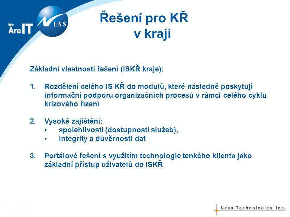 Řešení pro KŘ v kraji Základní vlastnosti řešení (ISKŘ kraje): 1.Rozdělení celého IS KŘ do modulů, které následně poskytují informační podporu organizačních procesů v rámci celého cyklu krizového řízení 2.Vysoké zajištění: •spolehlivosti (dostupnosti služeb), •integrity a důvěrnosti dat 3.Portálové řešení s využitím technologie tenkého klienta jako základní přístup uživatelů do ISKŘ