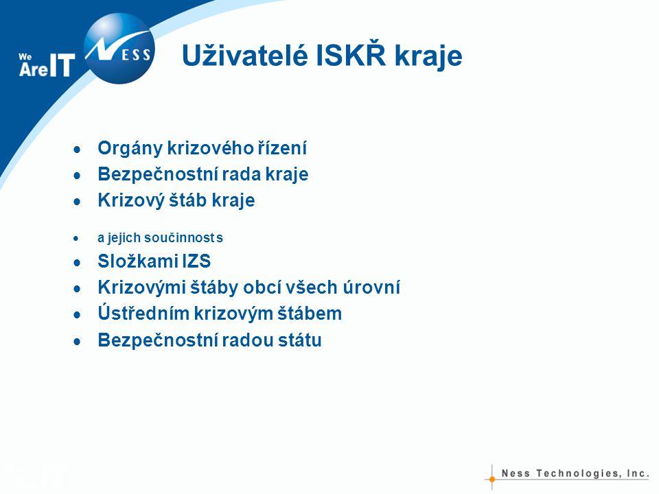 Uživatelé ISKŘ kraje  Orgány krizového řízení  Bezpečnostní rada kraje  Krizový štáb kraje  a jejich součinnost s  Složkami IZS  Krizovými štáby