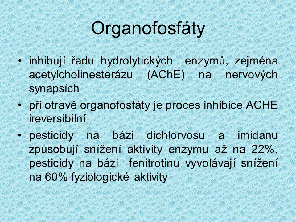 Organofosfáty •inhibují řadu hydrolytických enzymů, zejména acetylcholinesterázu (AChE) na nervových synapsích •při otravě organofosfáty je proces inh