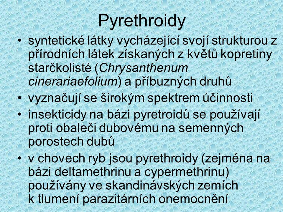 Pyrethroidy Na základě chemické struktury a mechanismu účinku se rozdělují do dvou typů:  Pyrethroidy typu I (neobsahují α-kyano skupinu, např.
