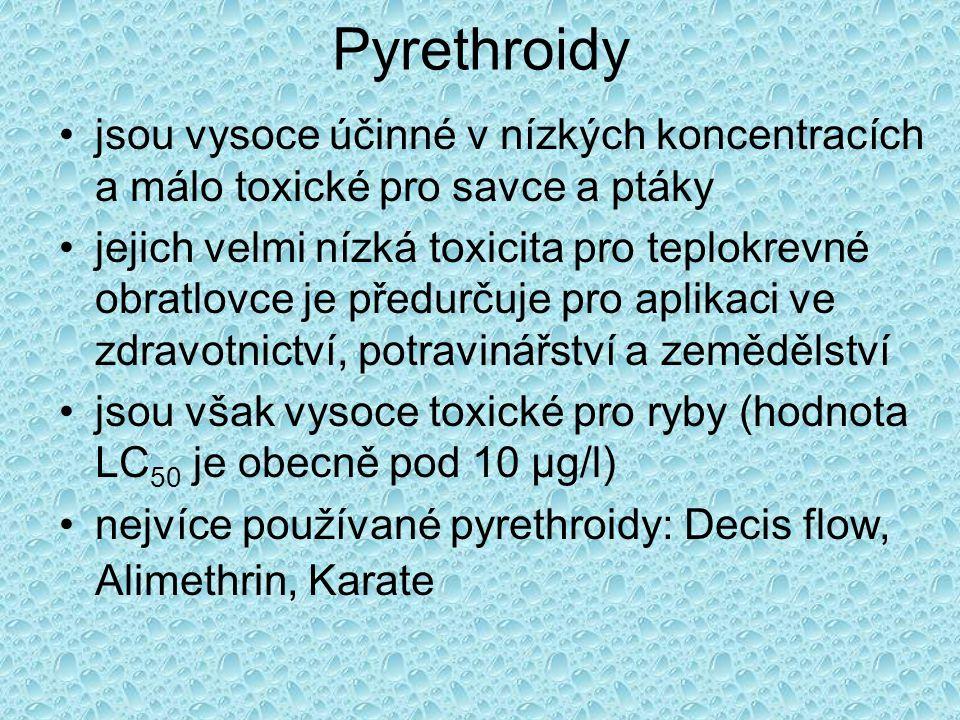 Pyrethroidy •jsou vysoce účinné v nízkých koncentracích a málo toxické pro savce a ptáky •jejich velmi nízká toxicita pro teplokrevné obratlovce je př